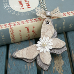Long Leather and Lace Butterfly Necklace