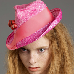 Fairtrade Pink Panama Trilby Headpiece with large red Upcycled Skateboard Studs