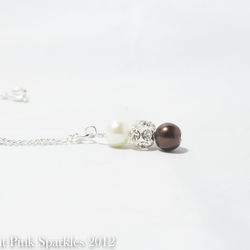 Chocolate Brown and Ivory Pearl Rhinestone Necklace