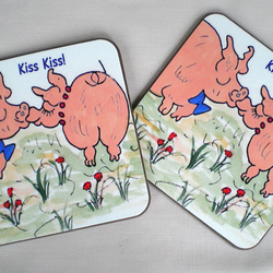 Pig coasters, Wooden coasters,Drinks coasters,Animal coasters,Pigs,
