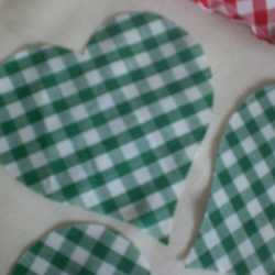 "8 x 4"" Cut out fabric cotton Hearts, Green Gingham hearts,10 cms"