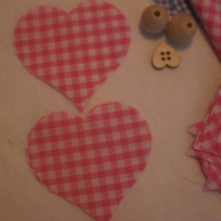 "8 x 4"" Cut out fabric,  Pink Gingham Hearts,  Hanging Hearts, Craft"