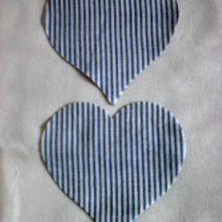 "8 x 4"" Cut out fabric Hearts,  Grey and white stripe cotton"
