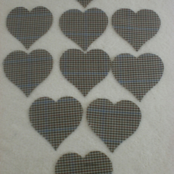 8 x 5cms Cut out fabric cotton Hearts,  Tweed