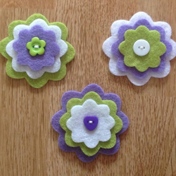 3 x Die-cut Flowers Purple, Green, White