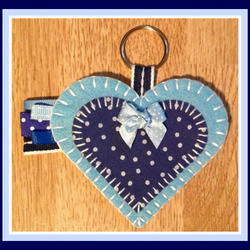 Blue Felt Heart Keyring Bag Charm