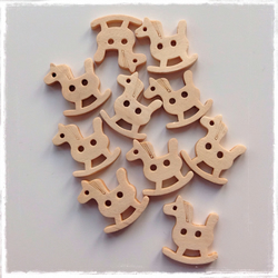 10 x Wooden 2 Holed Button Rocking Horse