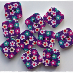 10 x Square Patterned Wooden 2 Holed Button Purple Flower