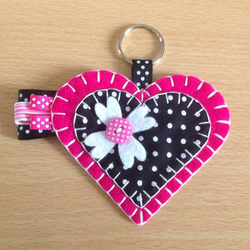 Pink & Black Felt Heart Keyring Bag Charm