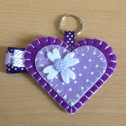 Purple Felt Heart Keyring Bag Charm
