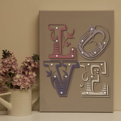 LOVE Canvas with 20 LED battery operated lights 40cm x 32cm