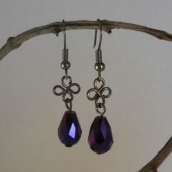 Purple Swarovski Crystal And Black Wirework Earrings, Gothic Style