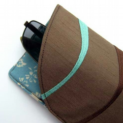 Glasses/Sunglasses Case - Chocolate and Turquoise