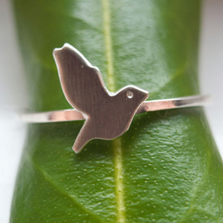 Tiny Dove Stacker Ring in Sterling Silver
