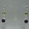 Silver Amethyst Peridot lever back hoop earrings
