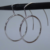 Silver round hoop earrings modernist curved ear wire
