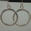Sterling silver hoop earrings textured hallmarked Boho