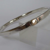 Sterling silver and 14ct gold heavy 32.6 bangle large gift boxed hallmarked