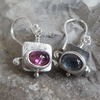 Sterling silver Tourmaline hollowform earrings ooak October birthstone