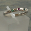 Ruby and Emeralds sterling silver pinky ring ready to ship size J