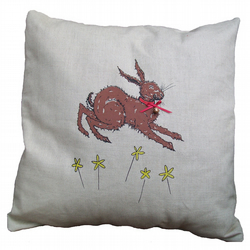 Home decor Hare with collar and bell illustration hand printed linen cushion