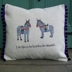 Seaside donkey summer hand printed linen cushion