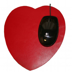 Mouse Mat - Red Leather Heart Shaped