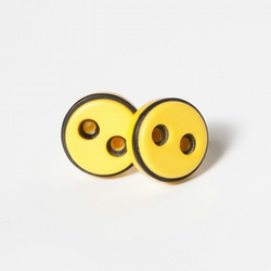 Retro Yellow Button Earrings