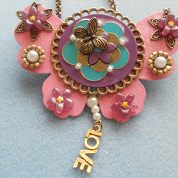 Butterfly Love collage necklace