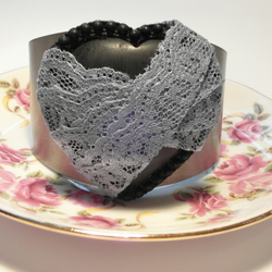 Blue lace heart cuff by lillyangel