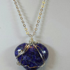 Handcrafted Wire Wrapped Lapis Heart Gemstone Pendant Necklace,Christmas Gift