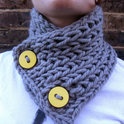 Chunky grey merino wool ribbed neckwarmer with large yellow buttons