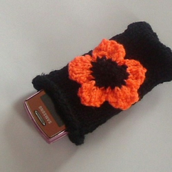 Black and Orange Flower Phone or Gadget Case