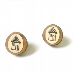 Natural Wooden House Illustration Stud Earrings