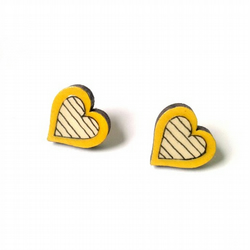 Illustrated Stripy Mustard Yellow Wooden Heart Earrings