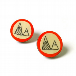 Red Mountain Illustrated Wooden Earrings