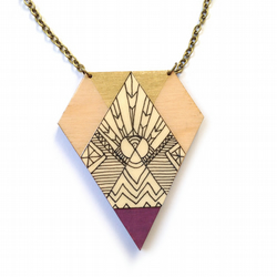 Illustrated Gold and Berry Purple Wooden Tribal Kite Necklace