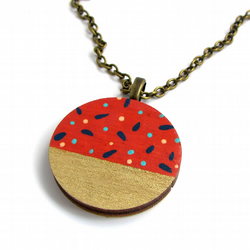 Tan Polka Dot Wooden Circle Necklace