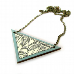 Hand Illustrated Art Deco Style Triangle Necklace