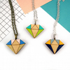 Crystal Diamond Geometric Wooden Necklace