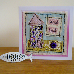 Good luck hand stitched textile card