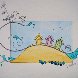 Beach huts original pen and wash
