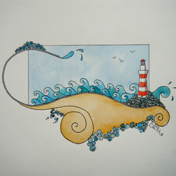 Lighthouse original watercolour painting
