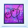 Pretty pink heart original hand painted love card