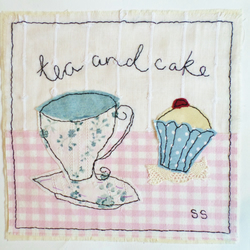 Tea and cake original textile art