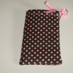 iPhone 5 Case -Camera Case -Ipod Case Drawstring Pouch - Choc Pink Polka