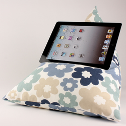 Blue Flowers - Tablet - iPad - e-reader - Book - Beanbag - Cushion - Pillow
