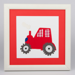 A Personalised Tractor Appliqued Picture, wall art, nursery art, boys room art,
