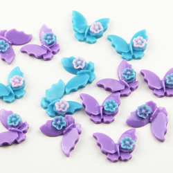14 Plastic Resin Mixed Purple and Turquoise Butterfly Cabochons Flat Backed Cabs