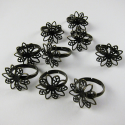 9 Bronze Plated Fancy Flower Style Top Adjustable Ring Blanks